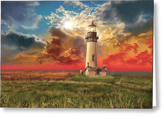 Yaquina Head Lighthouse Greeting Cards - Yaquina Head Lighthouse Greeting Card by MB Art factory