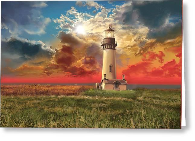 Oregon Lighthouse Image Greeting Cards - Yaquina Head Lighthouse Greeting Card by MB Art factory