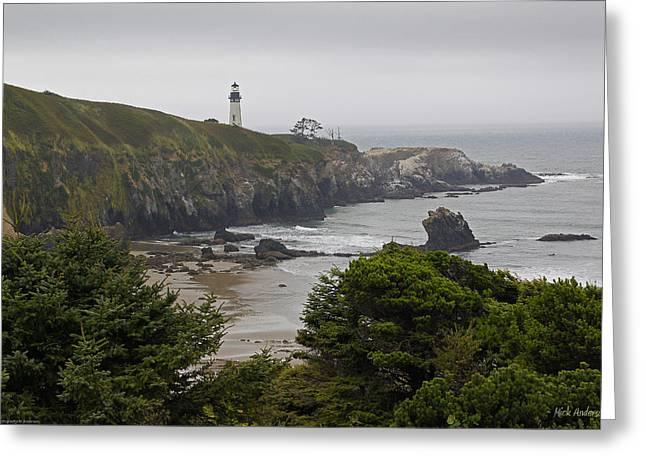 Mick Anderson Greeting Cards - Yaquina Head Lighthouse View Greeting Card by Mick Anderson