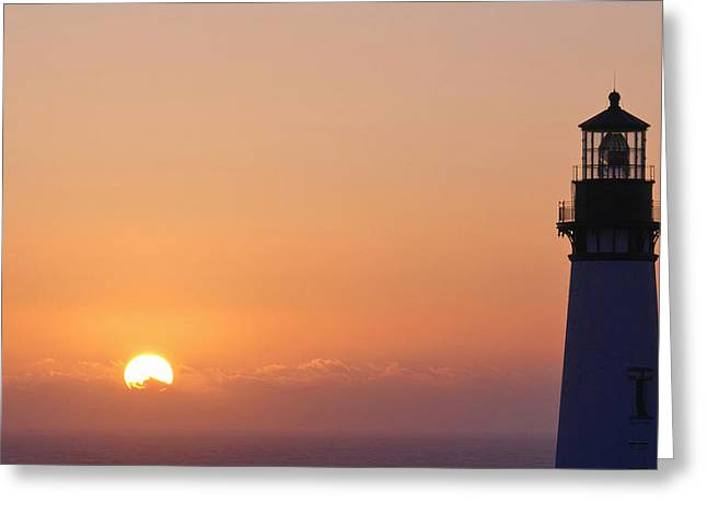 Abstract Beach Landscape Greeting Cards - Yaquina Head Lighthouse W7576 Greeting Card by Wes and Dotty Weber