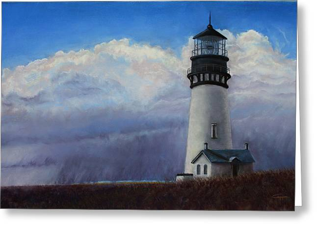 Storm Clouds Pastels Greeting Cards - Yaquina Head Storm Greeting Card by Carl Capps