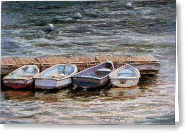 Dock Pastels Greeting Cards - Yarmouth Dorys Greeting Card by Denise Horne-Kaplan