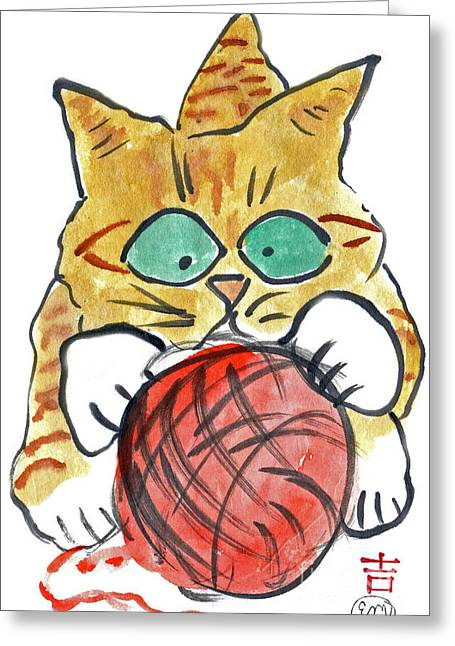 Drawings Of Cats Greeting Cards - Yarn Greeting Card by Ellen Miffitt