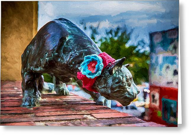 Usa Digital Art Greeting Cards - Yarn of the Asheville Cat Greeting Card by John Haldane