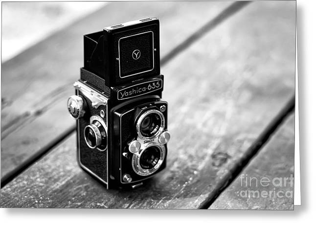 Reflex Greeting Cards - Yashica 635 Greeting Card by John Rizzuto