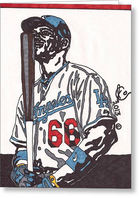 Yasiel Puig 1 Greeting Card by Jeremiah Colley