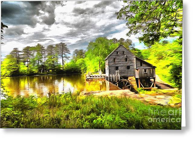 Grist Mill Mixed Media Greeting Cards - Yates Mill Raleigh NC II Greeting Card by Mylinda Revell