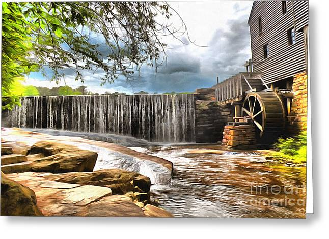 Grist Mill Mixed Media Greeting Cards - Yates Mill Raleigh NC Greeting Card by Mylinda Revell