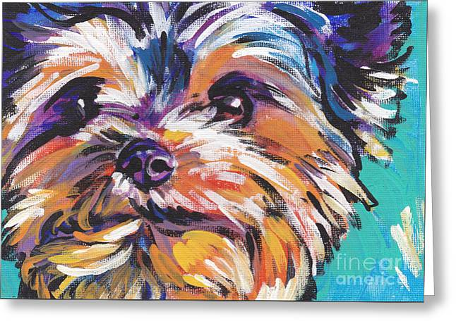 Dog Portraits Greeting Cards - Yay Yorkie  Greeting Card by Lea