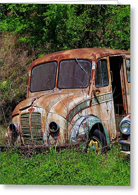 Rusted Cars Greeting Cards - Ye Old Milk Truck Greeting Card by Linda McMillen