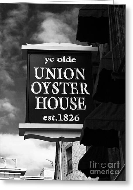 Old School House Greeting Cards - ye olde Union Oyster House Greeting Card by John Rizzuto