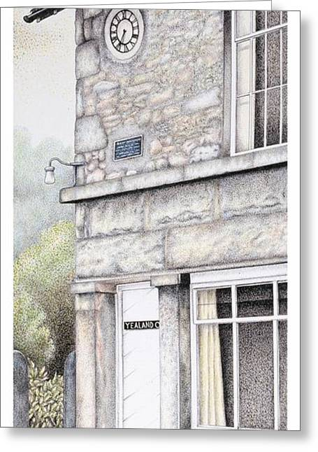 Stone House Drawings Greeting Cards - Yealand Old School Clock Greeting Card by Sandra Moore