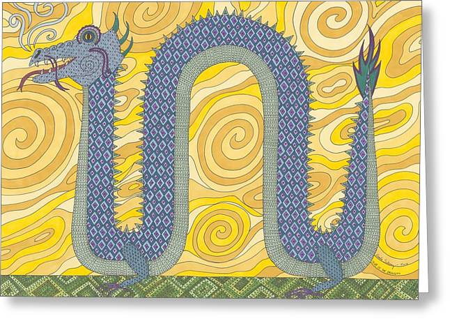 New Year Drawings Greeting Cards - Year of the Dragon Greeting Card by Pamela Schiermeyer