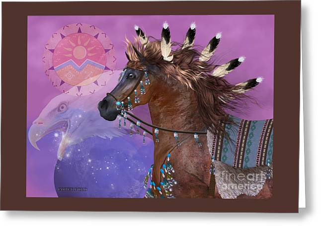 Year Of The Eagle Horse Greeting Card by Corey Ford