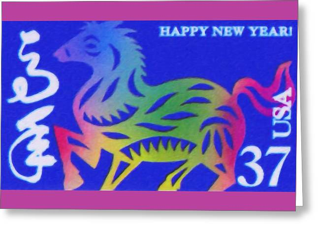 Year Of The Horse Greeting Card by Lanjee Chee