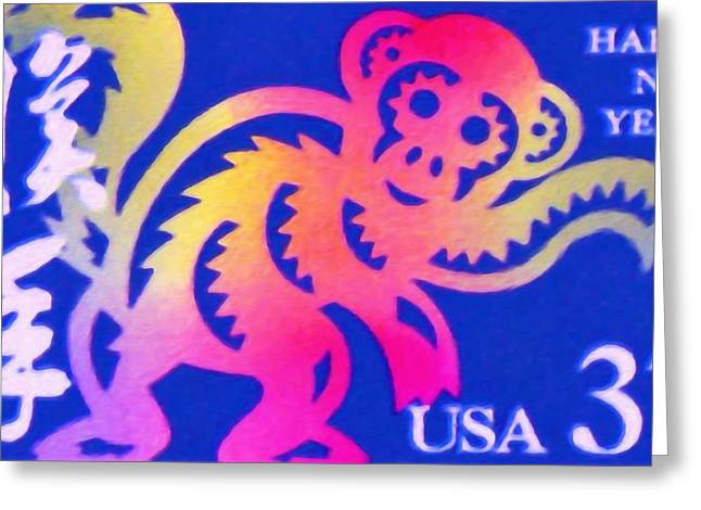 Year Of The Monkey Greeting Card by Lanjee Chee