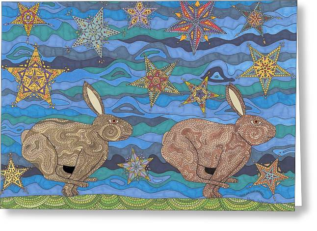 Rabbit Drawings Greeting Cards - Year of the Rabbit Greeting Card by Pamela Schiermeyer