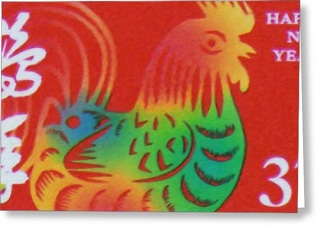 Year Of The Rooster Greeting Card by Lanjee Chee