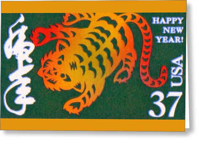 Year Of The Tiger Greeting Card by Lanjee Chee