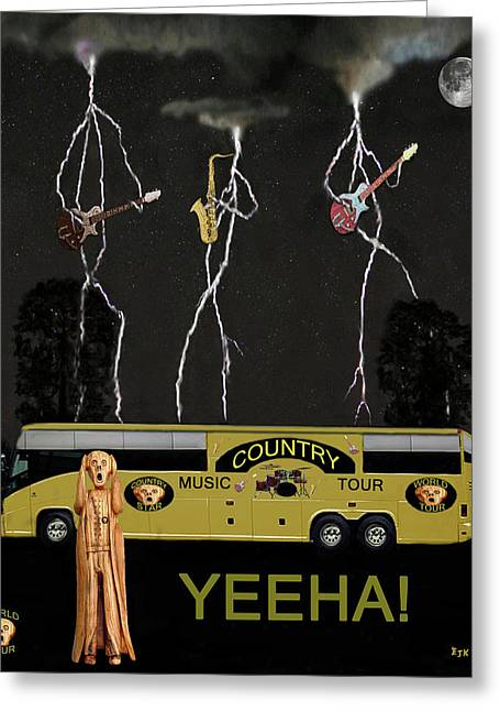 Tour Bus Mixed Media Greeting Cards - Yeeha Country Music Tour Greeting Card by Eric Kempson