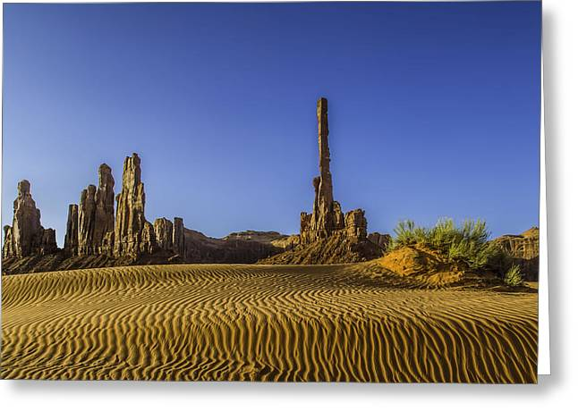 Yei Greeting Cards - Yei Bi Chei and The Totem Pole Monument Valley Arizona Greeting Card by Dan Blackburn