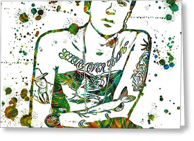 Fame Mixed Media Greeting Cards - Yelawolf Paint Splatter Greeting Card by Dan Sproul