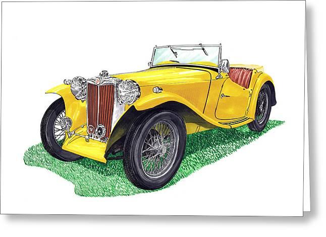 Headlight Drawings Greeting Cards - Yellow 1949 MGTC Midget Greeting Card by Jack Pumphrey