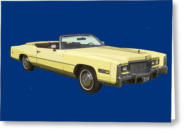 Caddy Greeting Cards - Yellow 1975 Cadillac Eldorado Convertible Greeting Card by Keith Webber Jr