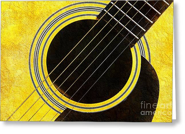 Andee Photography Greeting Cards - Yellow 2 Guitar Greeting Card by Andee Design