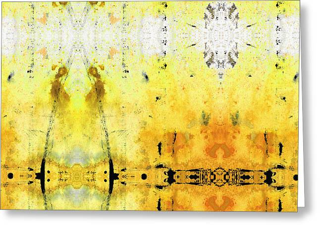 Yellow Abstract Art - Good Vibrations - By Sharon Cummings Greeting Card by Sharon Cummings