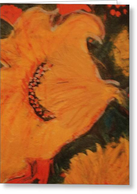 Yellow Abstraction Greeting Card by Anne-Elizabeth Whiteway