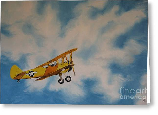 Noewi Greeting Cards - Yellow Airplane Greeting Card by Jindra Noewi