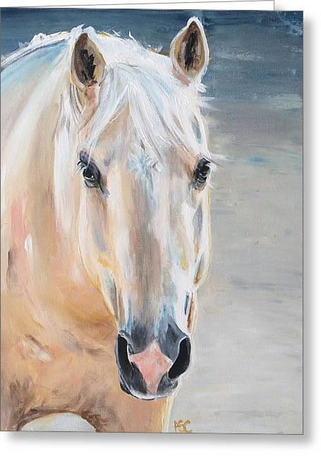The Horse Greeting Cards - Yellow Greeting Card by Alana Clumeck