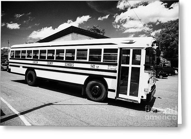 Rural School Bus Greeting Cards - yellow american bluebird school bus in Lynchburg tennessee usa Greeting Card by Joe Fox