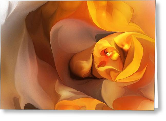 Modernism Greeting Cards - Yellow and Gold Abstract 050712 Greeting Card by David Lane