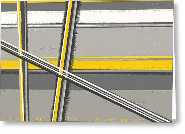 Yellow Line Greeting Cards - Yellow And Gray Abstract Art Greeting Card by Lourry Legarde