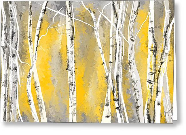 Birch Tree Greeting Cards - Yellow and Gray Birch Trees Greeting Card by Lourry Legarde