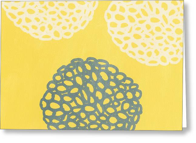 Barrels Greeting Cards - Yellow and Gray Garden Bloom Greeting Card by Linda Woods