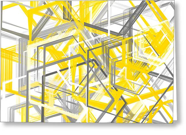 Geometric Shape Greeting Cards - Yellow And Gray Geometric Shapes Art Greeting Card by Lourry Legarde