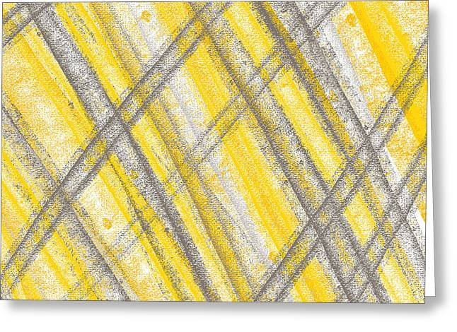 Yellow And Gray Abstract Greeting Cards - Yellow And Gray Lines Greeting Card by Lourry Legarde