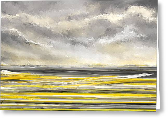 Yellow And Gray Seascape Art Greeting Card by Lourry Legarde