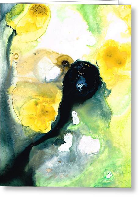 Lemon Art Greeting Card featuring the painting Yellow And Green Abstract Art - Into The Light - Sharon Cummings by Sharon Cummings