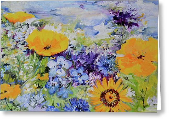 Yellow And Purple Flowers Field Greeting Card by Soos Roxana Gabriela