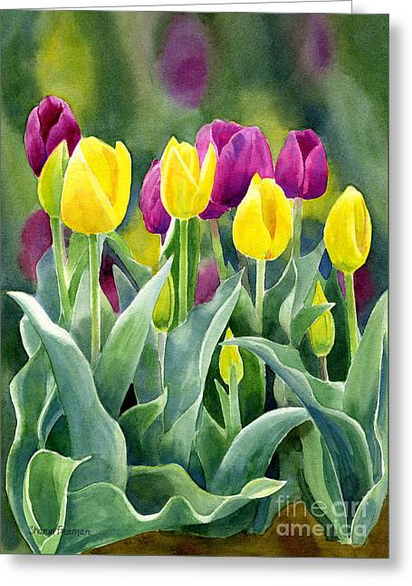 Violet Blue Greeting Cards - Yellow and Red Violet Tulips with Background vertical design Greeting Card by Sharon Freeman