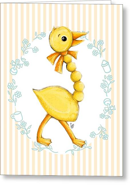 Yellow Baby Duck Greeting Card by Cindy Garber Iverson