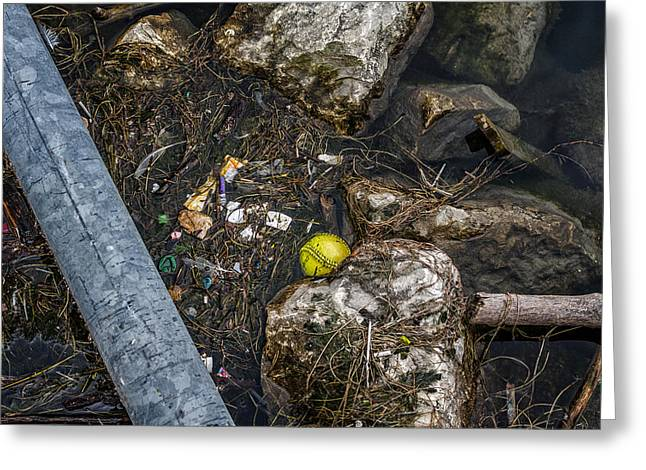 Polution Greeting Cards - Yellow Baseball in Harbor Greeting Card by Chris Tobias