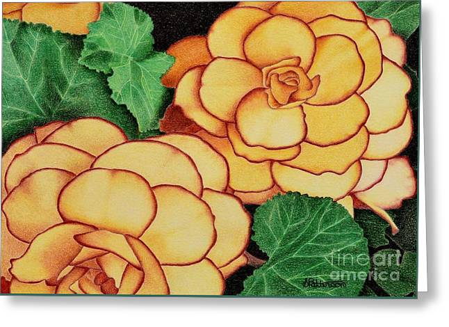 Flower Blossom Greeting Cards - Yellow Begonias Greeting Card by Sharon Patterson