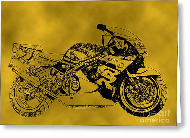 Suspension Drawings Greeting Cards - Yellow bike Greeting Card by Stephen Brooks