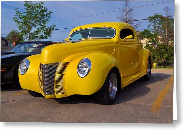 Collector Car Mixed Media Greeting Cards - Yellow Greeting Card by Bill Willemsen