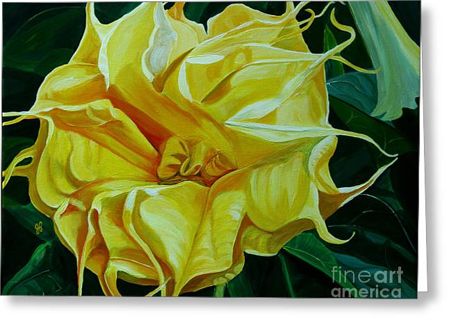 Datura Paintings Greeting Cards - Yellow Blast Greeting Card by Julie Pflanzer